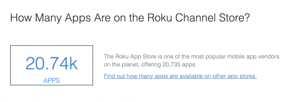 How many apps are on the Roku Channel Store — State of Connected TV 2020