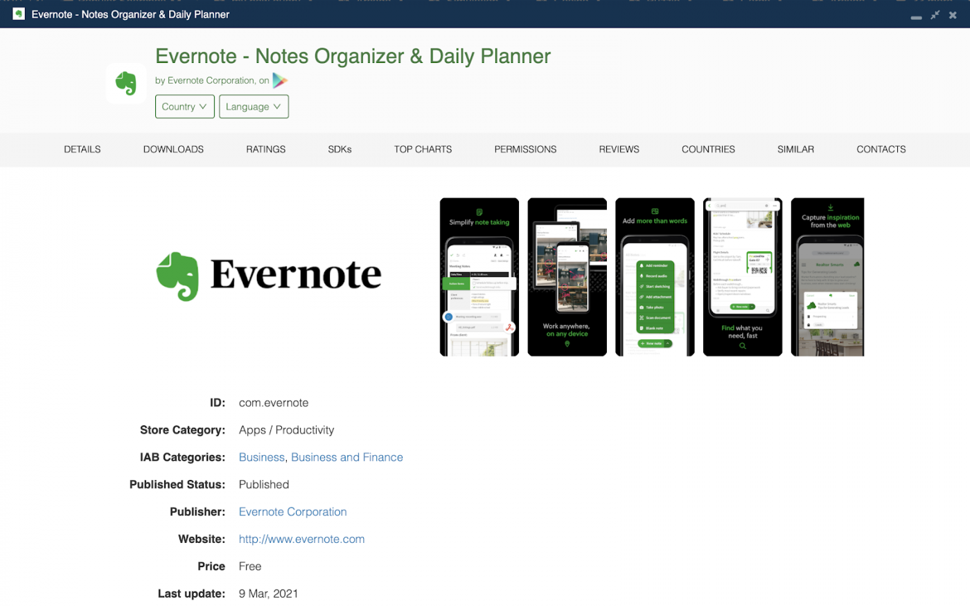 7. Best productivity apps worldwide in 2021 - Evernote