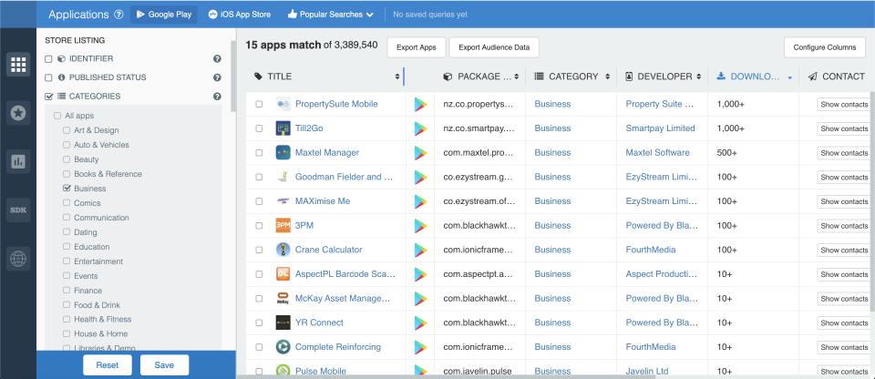 How to filter Android apps by category; app store analytics from 42matters.