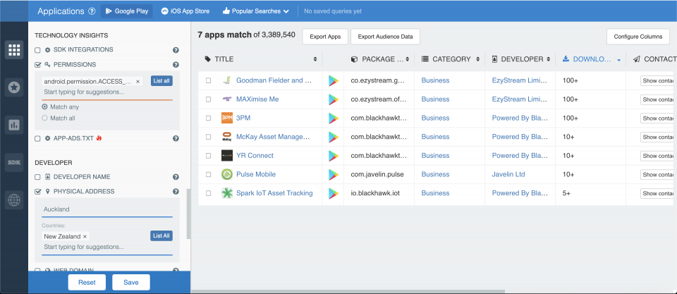 How to filter Android apps by permissions; app store analytics from 42matters.