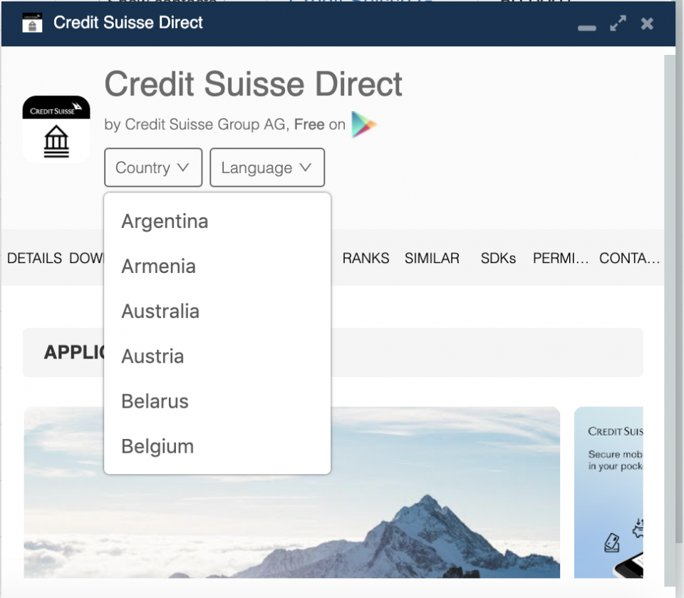 Credit Suisse app country availability.