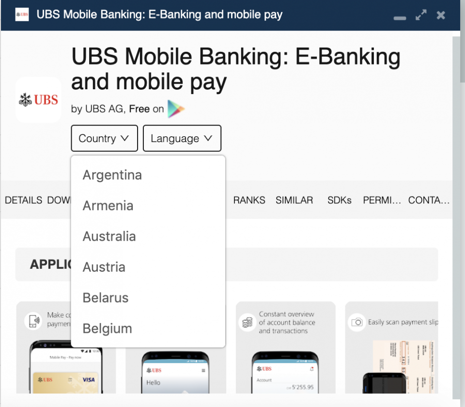 UBS app country availability.