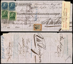 American Banking Manuscript Revenue Stamps High Resilience Filled With 100 Late Civil War