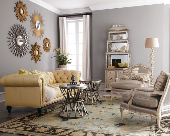 An-eclectic-living-room-with-different-color-metal-accents