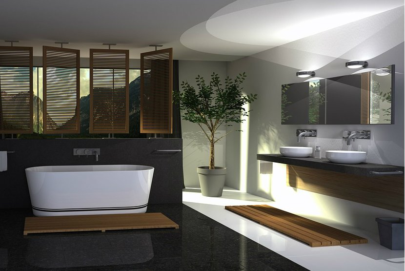 dramatic-spa-inspired-bathroom-with-black-wall-and-white-soaking-tub