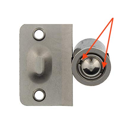 Grooves in a ball catch cylinder that are used to adjust door ball catch