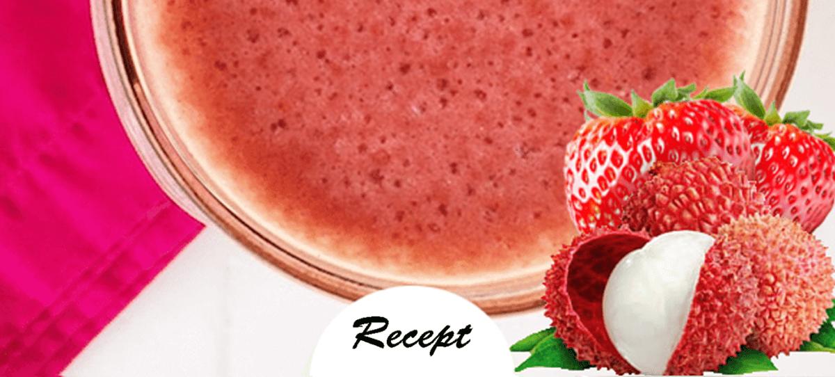 Proteinreicher Erdbeer-Litschi-Smoothie