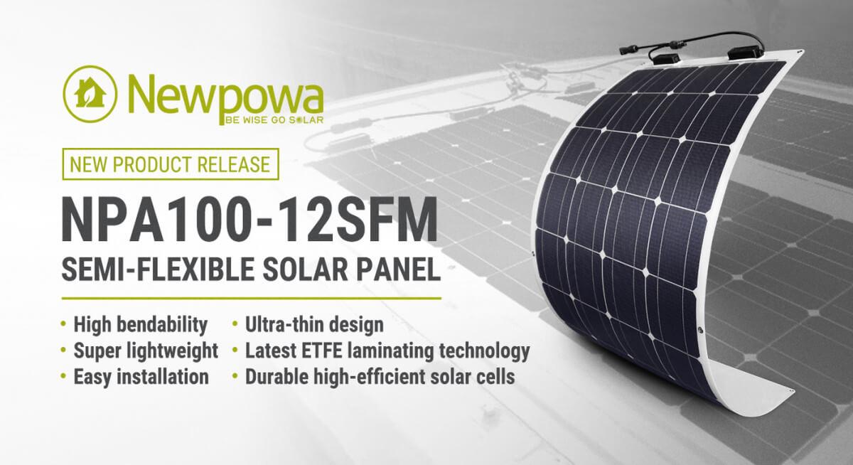 100W LIGHTWEIGHT SEMI-FLEX 12V SOLAR PANEL