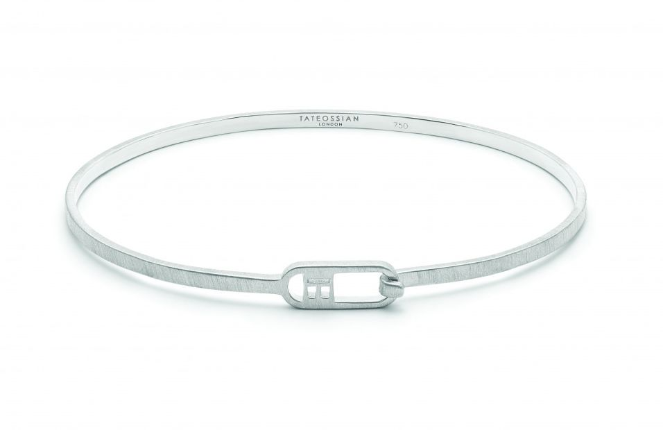 T-bangle in brushed sterling silver
