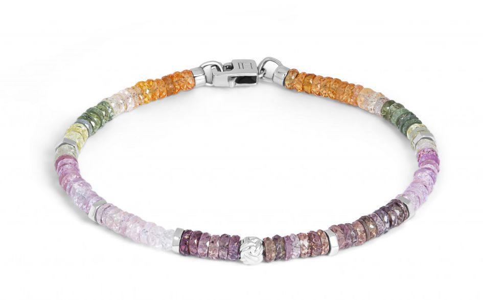 Nodo bracelet with multi-colour sapphire and sterling silver