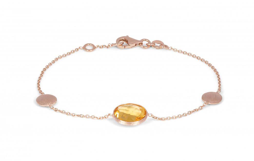 Kensington bracelet with citrine in 14k satin rose gold