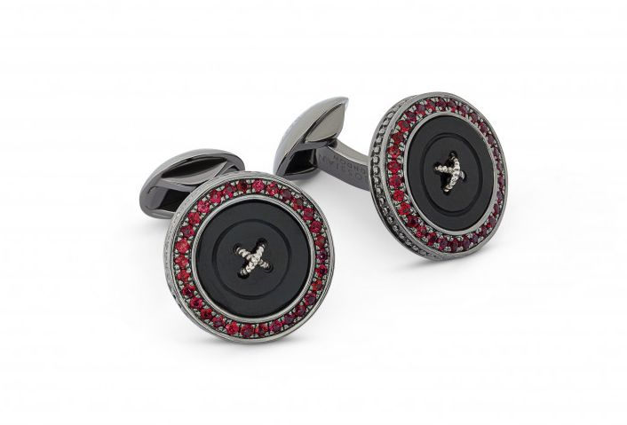 Precious Button cufflinks with black mother of pearl & rubies
