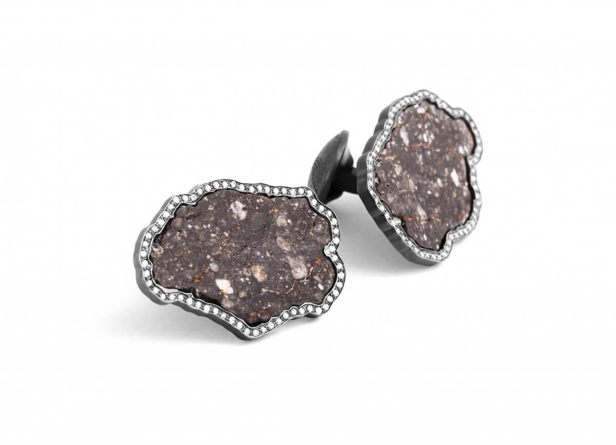 Lunar Breccia cufflinks with white diamonds in 18k white gold