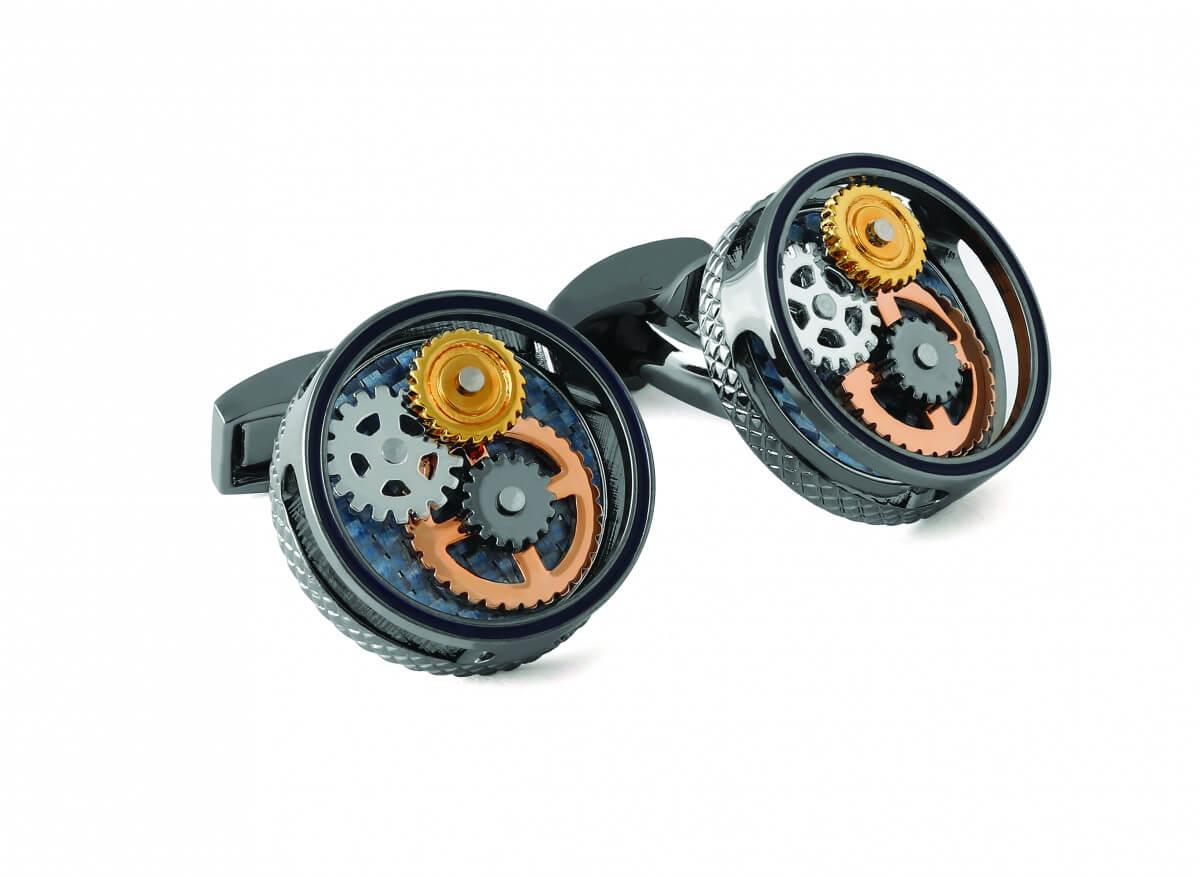 Round Gear Carbon Fibre cufflinks with gunmetal finish