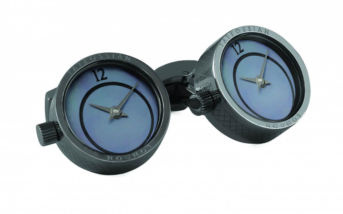Black Mother of Pearl Prezioso Watch cufflinks in black IP stainless steel