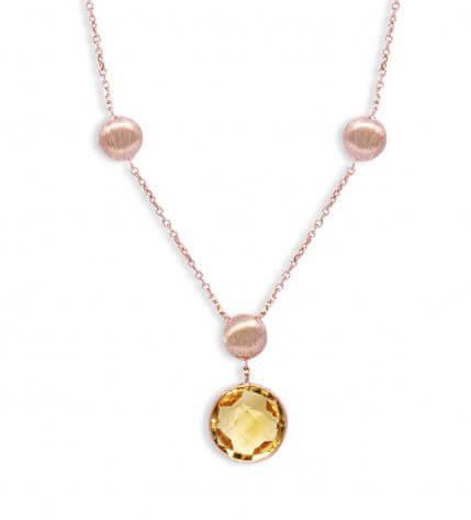 Kensington necklace in citrine and 14k satin rose gold