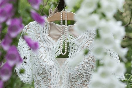 Weddings. Dress and Pearls.