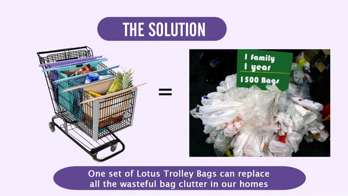 One Lotus Trolley Bag replaces over 1,500 plastic bags every year!