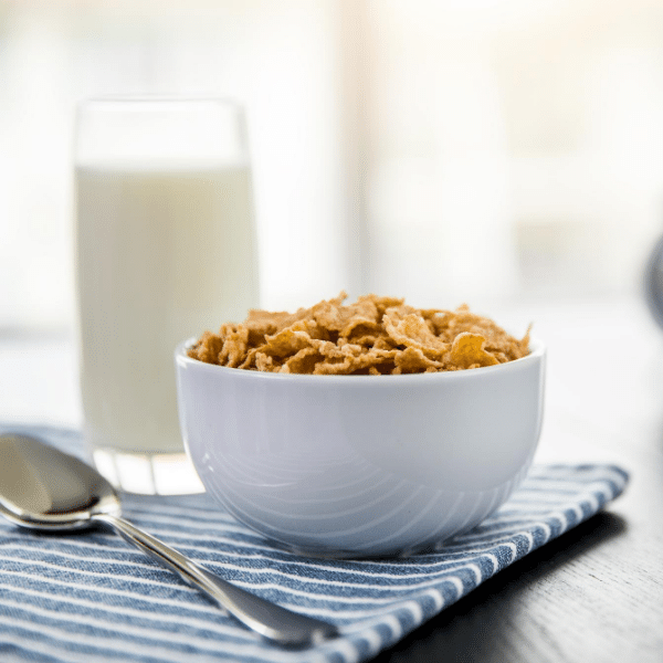 bowl of cereal with almond milk