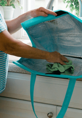 use a safe disinfectant to wipe down the insulated bag