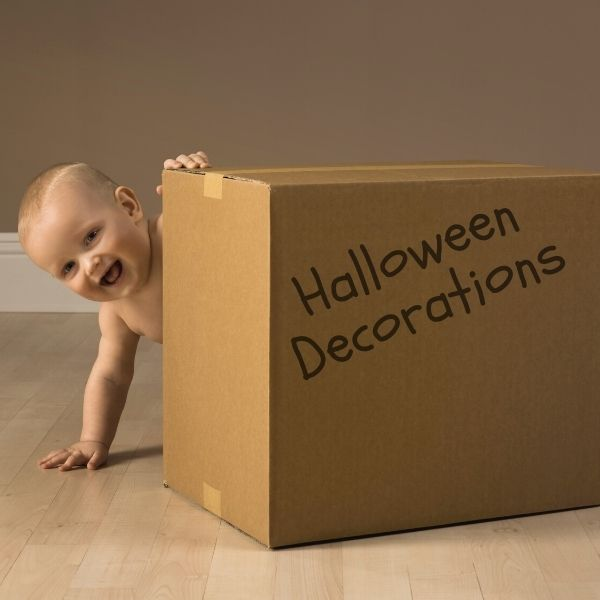 halloween decorations in a box stored for next year