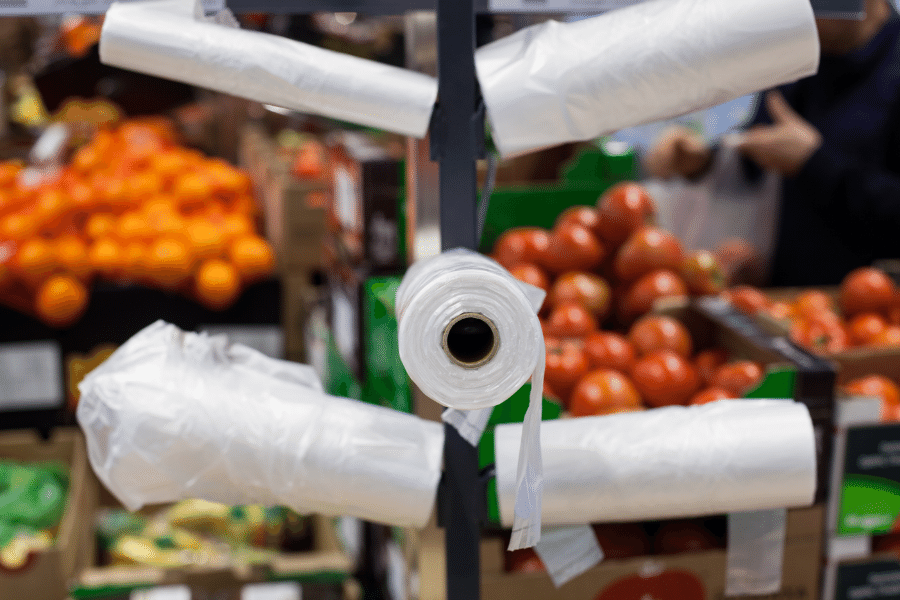 single-use plastic bags at the grocery store