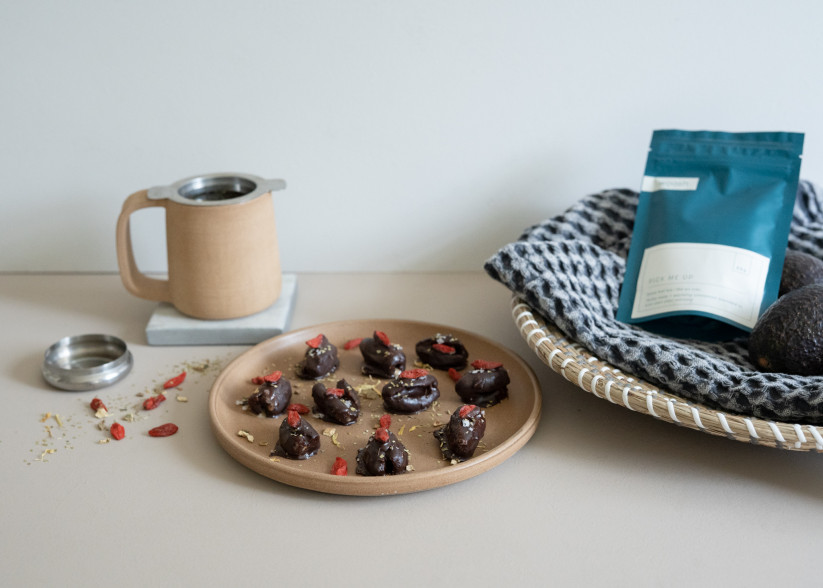 Stuffed Date Recipe: Pick Me Up Infused Chocolate Coating