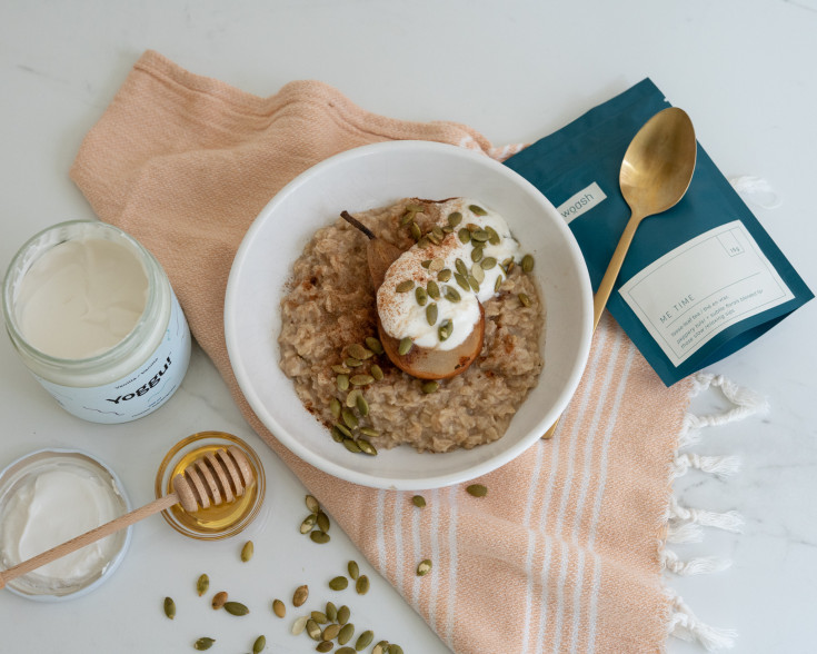 Morning Oats Recipe: Poached Me Time Pear Topping