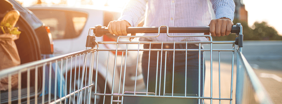 Person pushing shopping cart