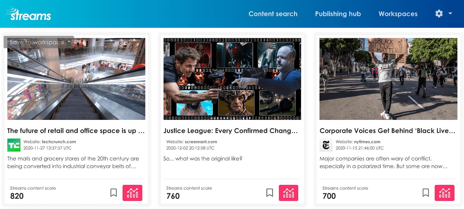 Streams content marketing tool
