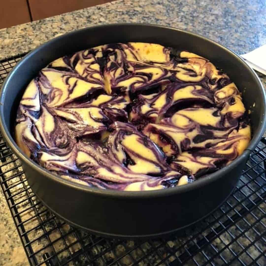 BLUEBERRY SWIRL CHEESE CAKE by Amy Scotti