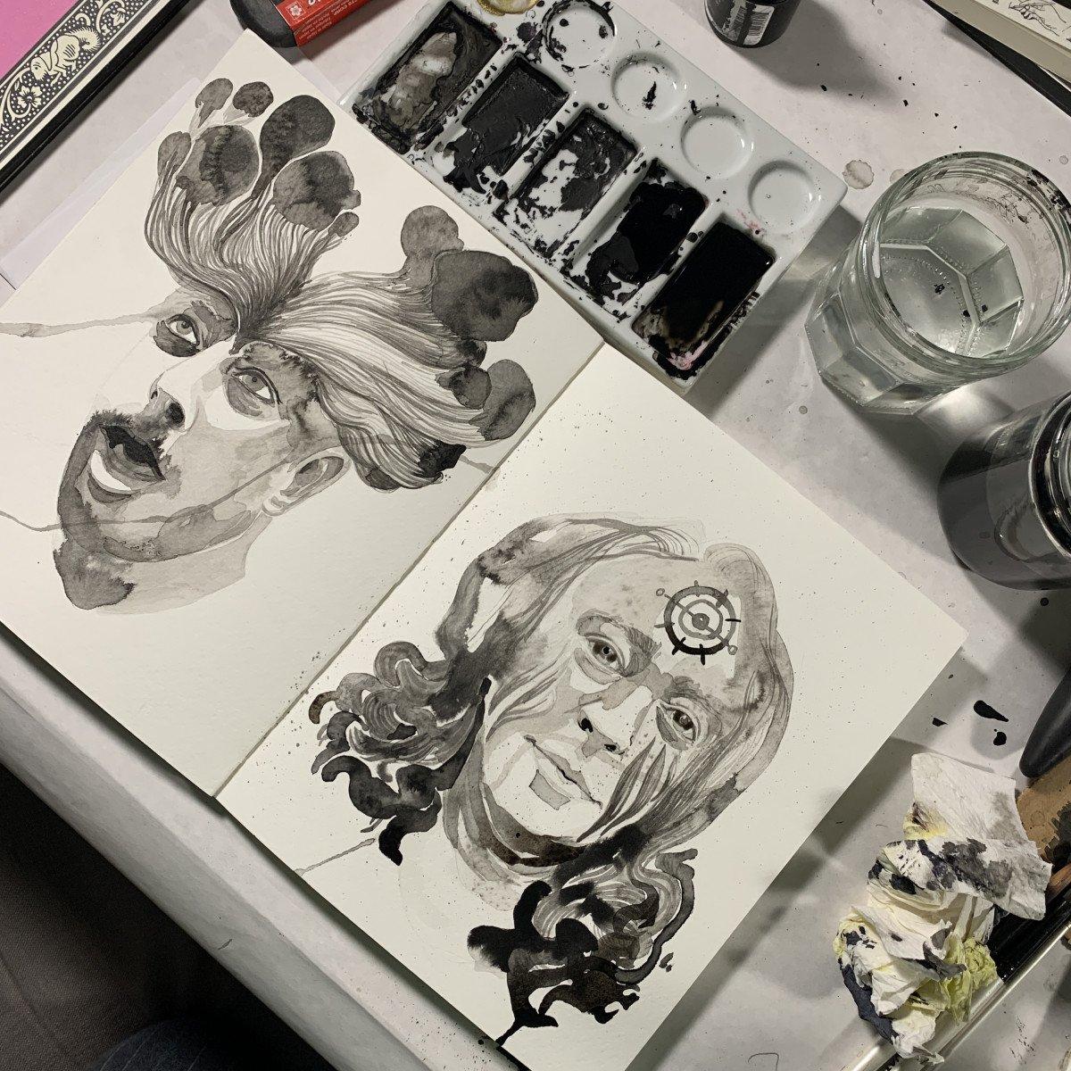 The Undead Come Alive! Zombie Portraits Ink killerpancake ki11erpancake illustration halloween