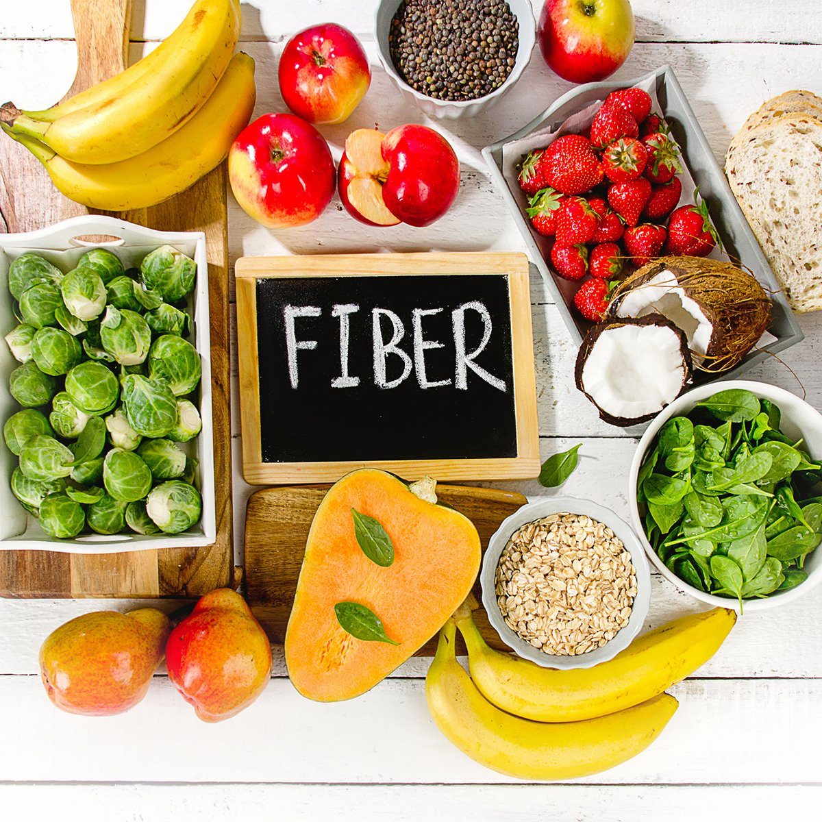 Image of fruits and vegetables high in fiber