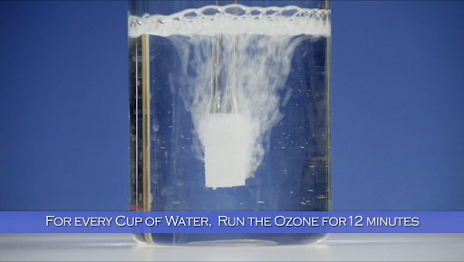 fizzing water - for every cup of water, run the ozone machine for 12 minutes