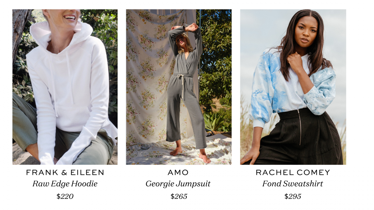 Features the Frank & Eileen Raw Edge Hoodie, the Amo Georgie Jumpsuit and the Fond Sweatshirt from Rachel Comey