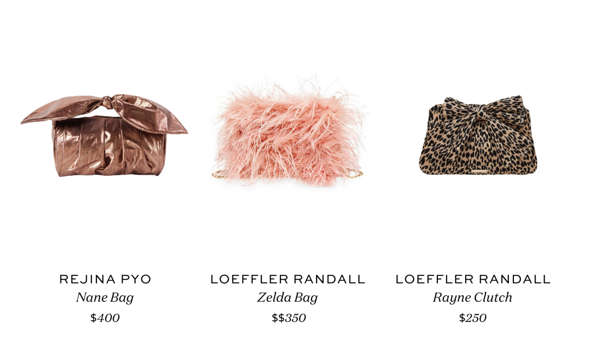 Features the Loeffler Randall Zelda Bag and Rayne Clutch and the Rejina Pyo Nane Bag