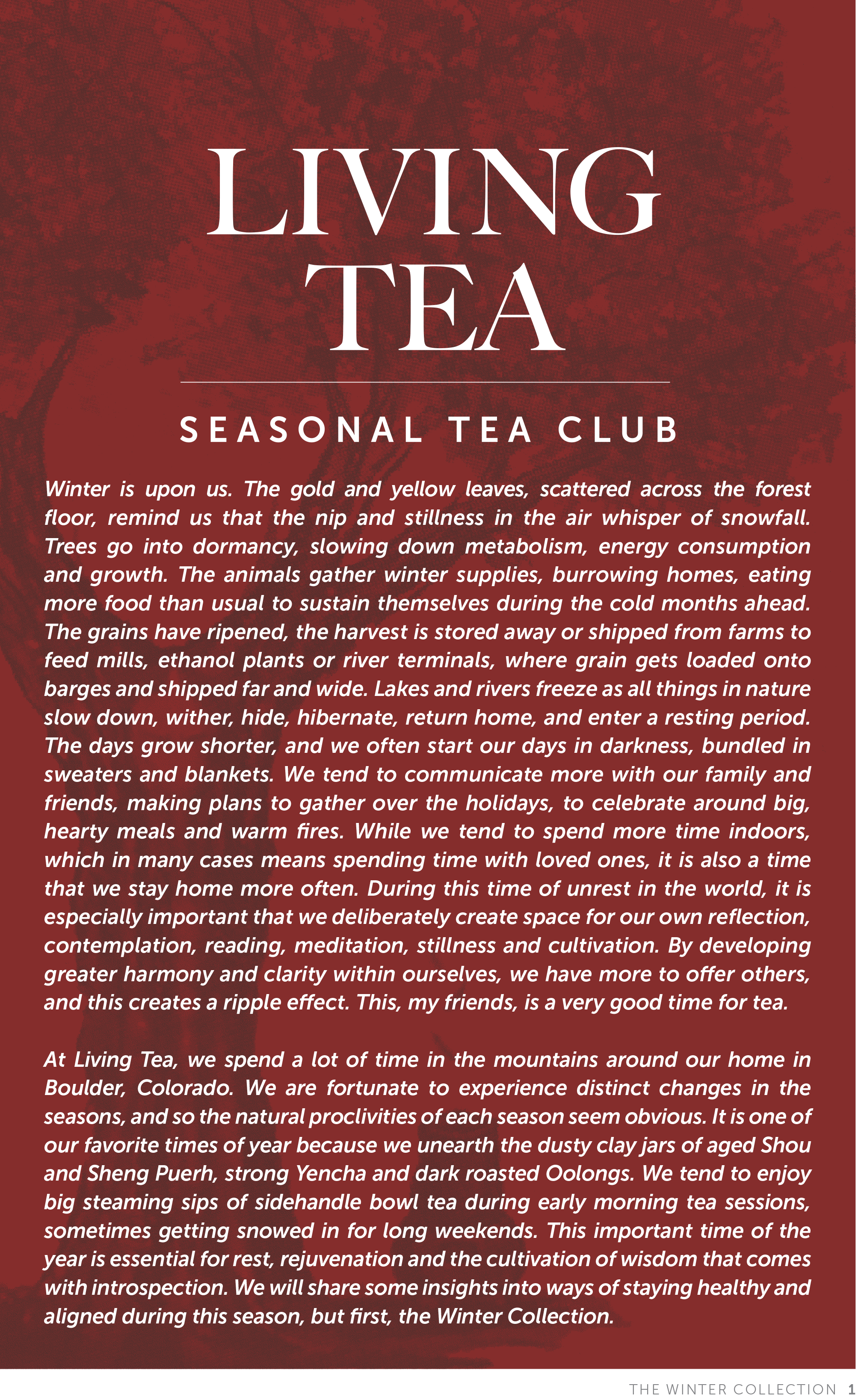 Living Tea Seasonal Tea Club Winter 2018