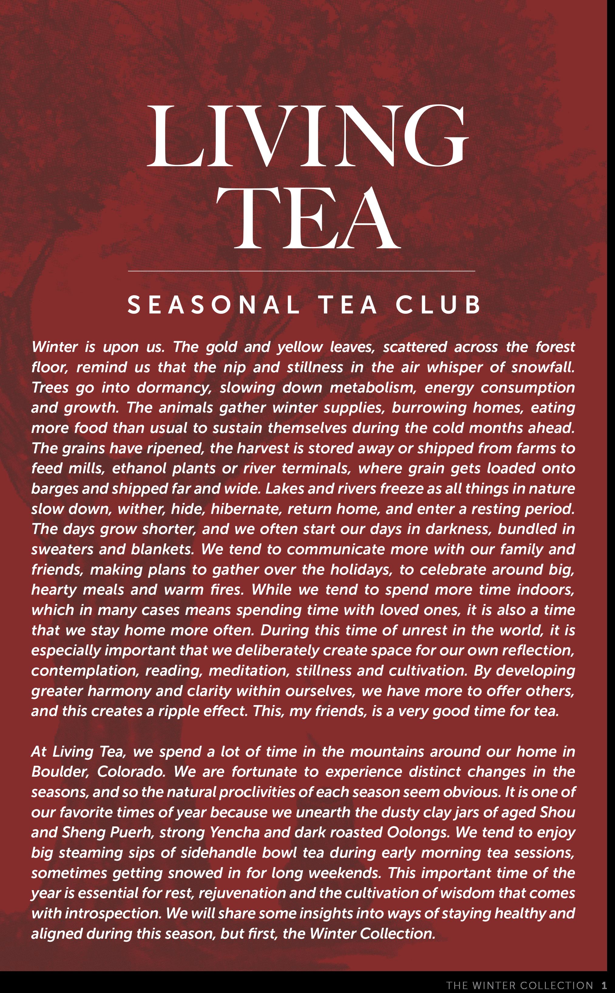 Living Tea Seasonal Tea Club Winter 2018