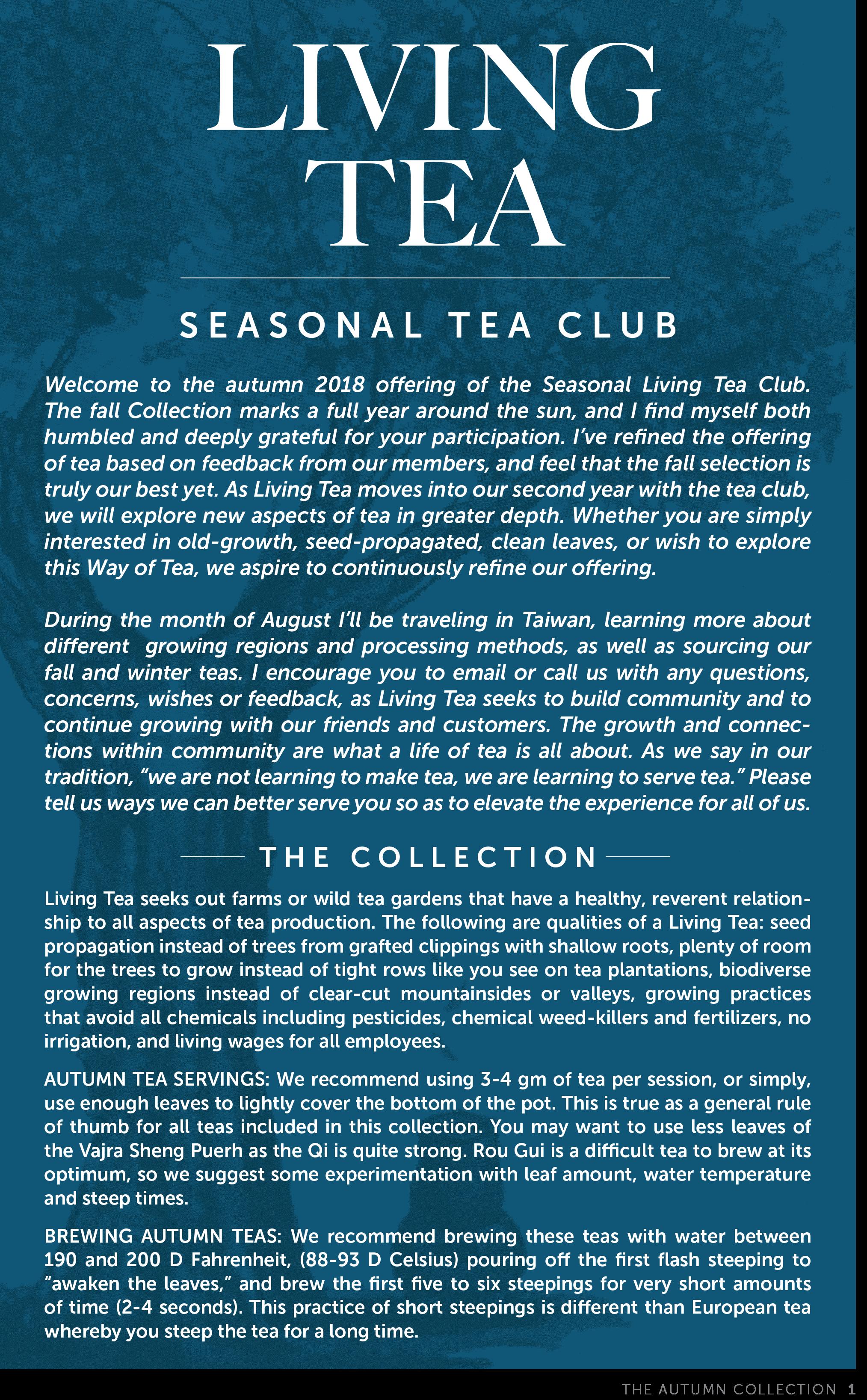 Living Tea Seasonal Tea Club Autumn 2018