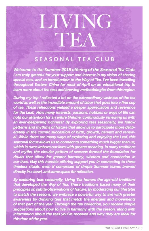 Living Tea Seasonal Tea Club Summer 2018