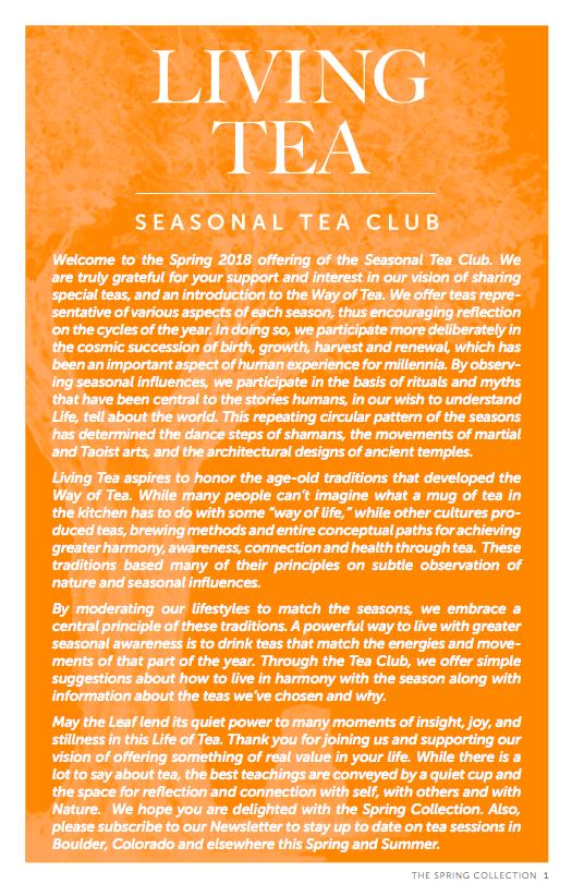 Living Tea Seasonal Tea Club Spring 2018