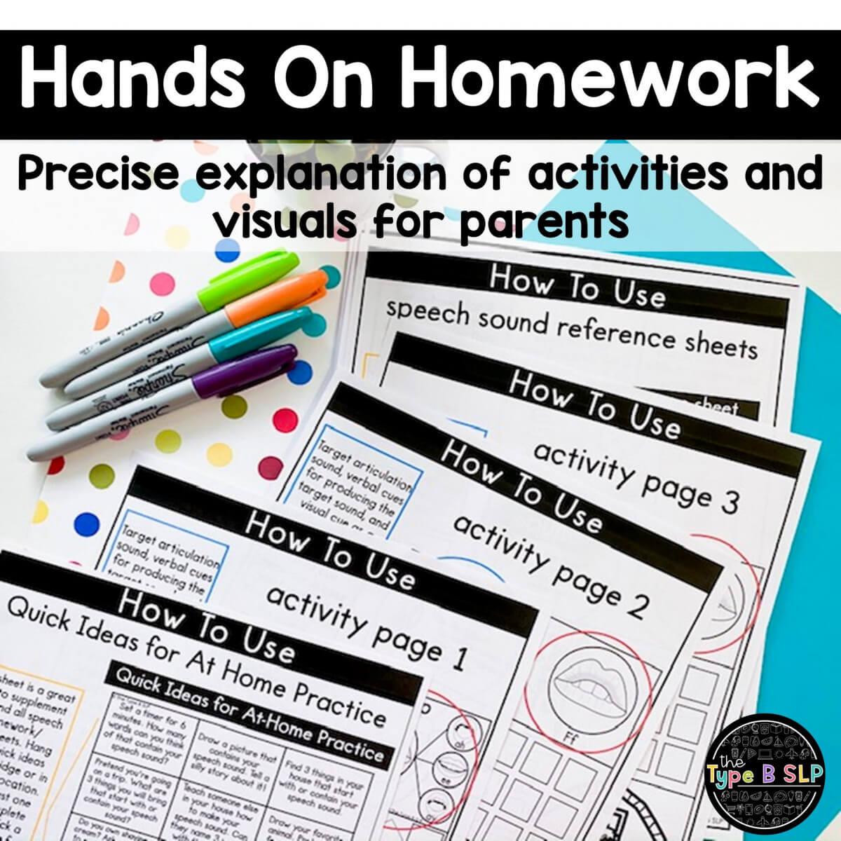parent homework sheets