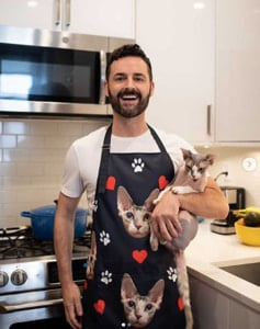 funny apron men with cat
