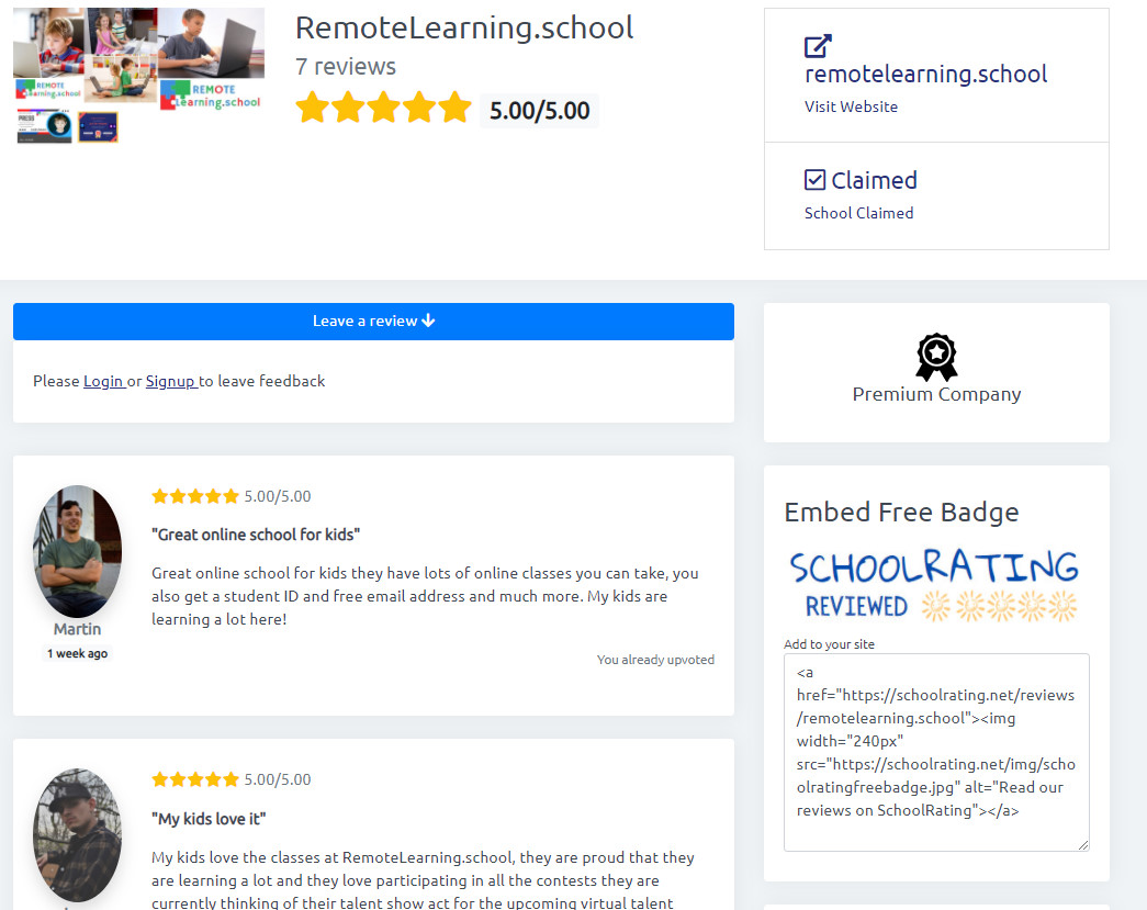 RemoteLearning.school Reviews on SchoolRating