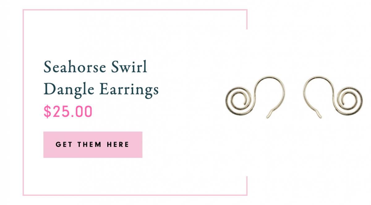 Seahorse Swirl Dangle Earrings