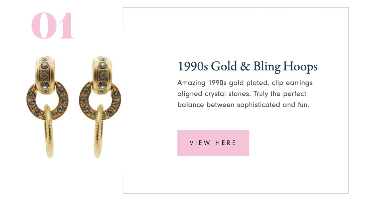 1990s Gold & Bling Hoops