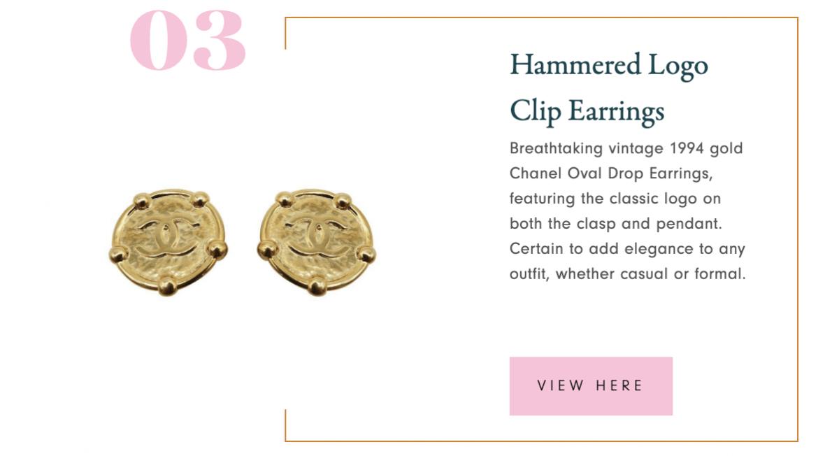 Chanel Hammered Logo Clip Earrings