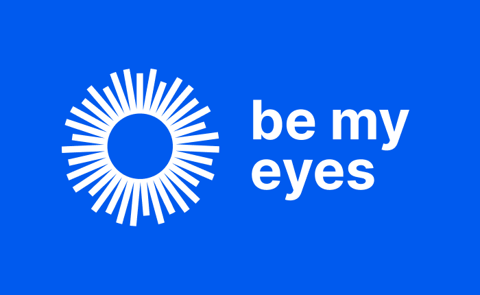 Blue rectangle with sun shape that says be my eyes next to it
