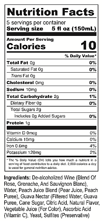 Surely Non Alcoholic Wine Nutrition Facts
