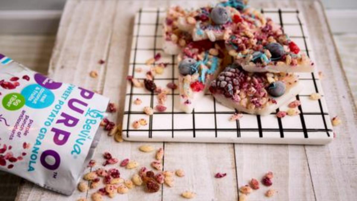 Beviva's Vegan Yogurt Bark with PURPO Granola Recipe